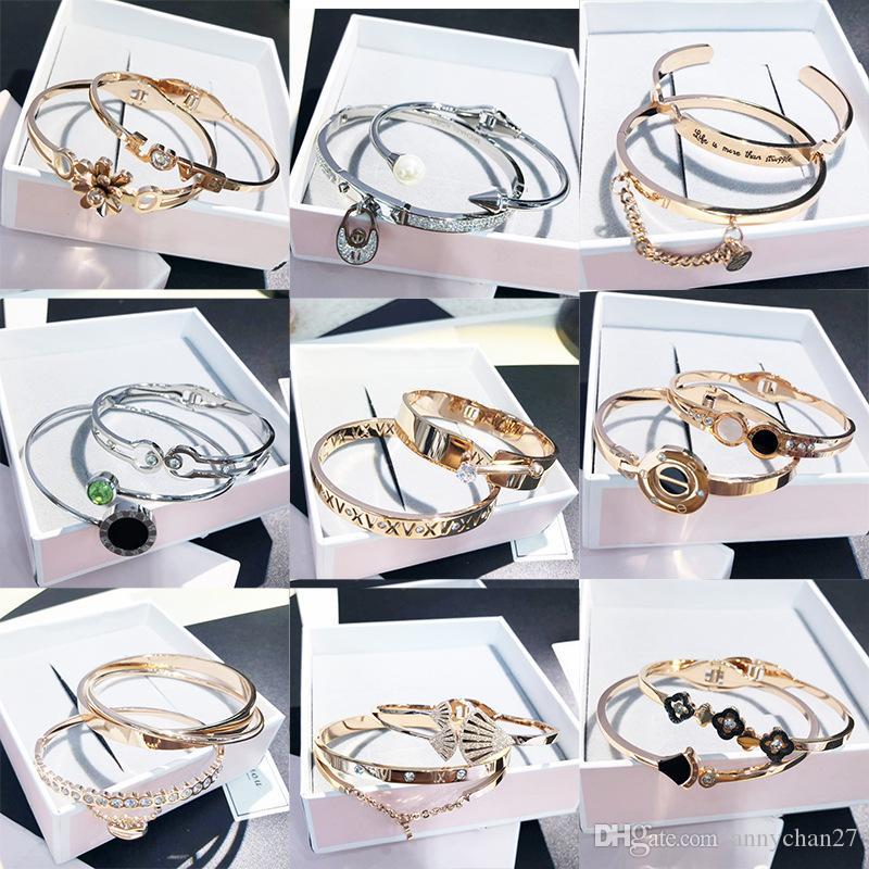 Titanium Steel Bangle Open Cuff Rose Gold Silver black bracelets Mix Styles Luxury Trend Korean Wholesales High Quality Jewelry free DHL