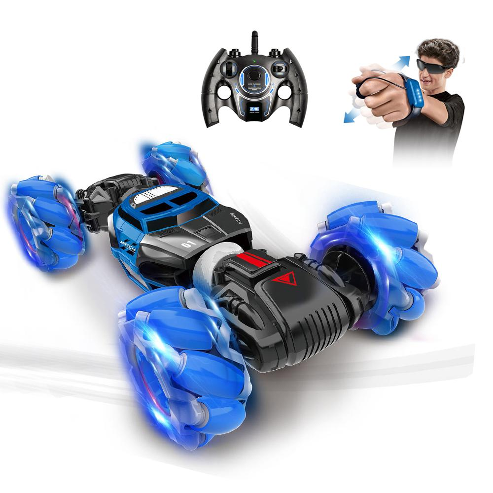 HS 2.4G RC Двухсторонний трюк автомобильной игрушки, жесткая трансфамирование жеста, привод бокового направления, красочная светлая музыка, рождественский парень подарок на день рождения 2-1