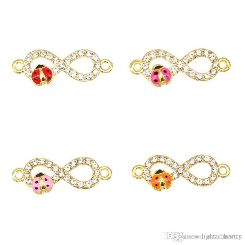 50pcs wholesale ladies bracelet Necklace pendant earrings DIY production supplies 8-shaped connector charm seven-star ladybug double hanging