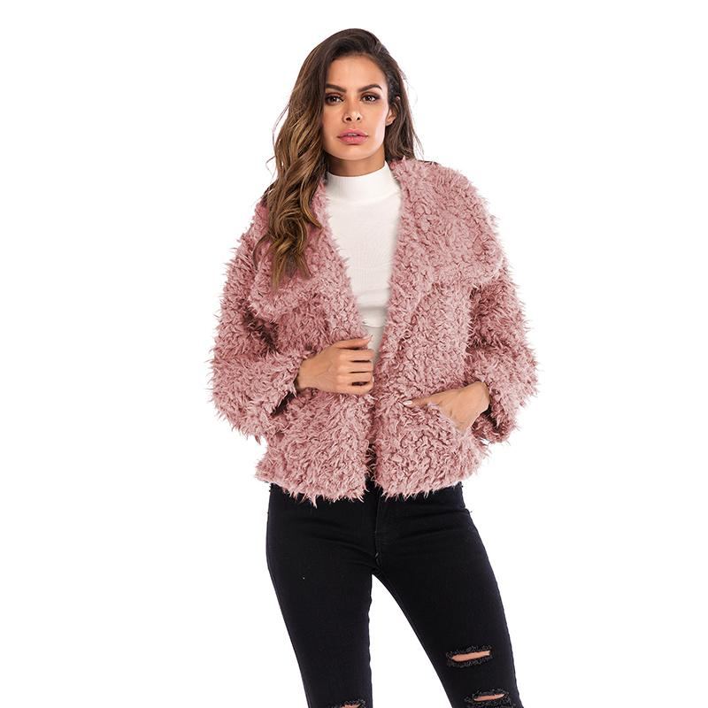 Outono e inverno lapela flanela cor sólida casaco da mulher solta nova moda quente casaco curto de mangas compridas europeus e americanos