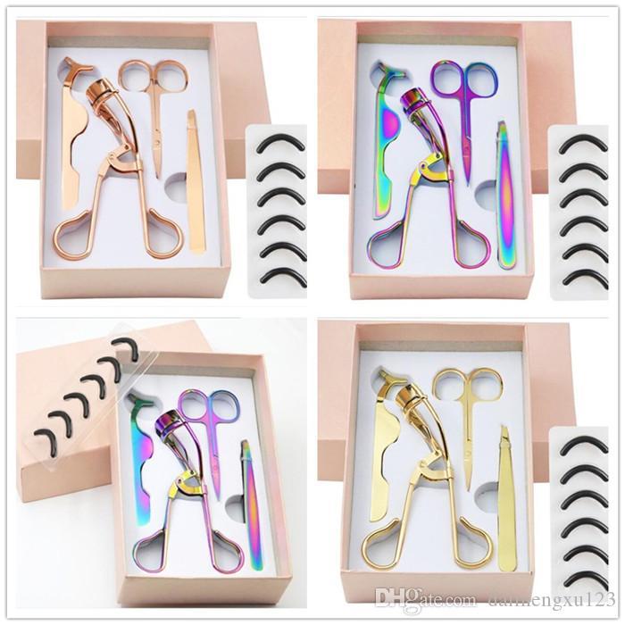 Renkli Altın Paslanmaz Çelik Kaş Makas 3D Vizon Kirpik Cımbız Kirpikleri Bigudi Seti Saç Kesme Makyaj Makas Seti X251