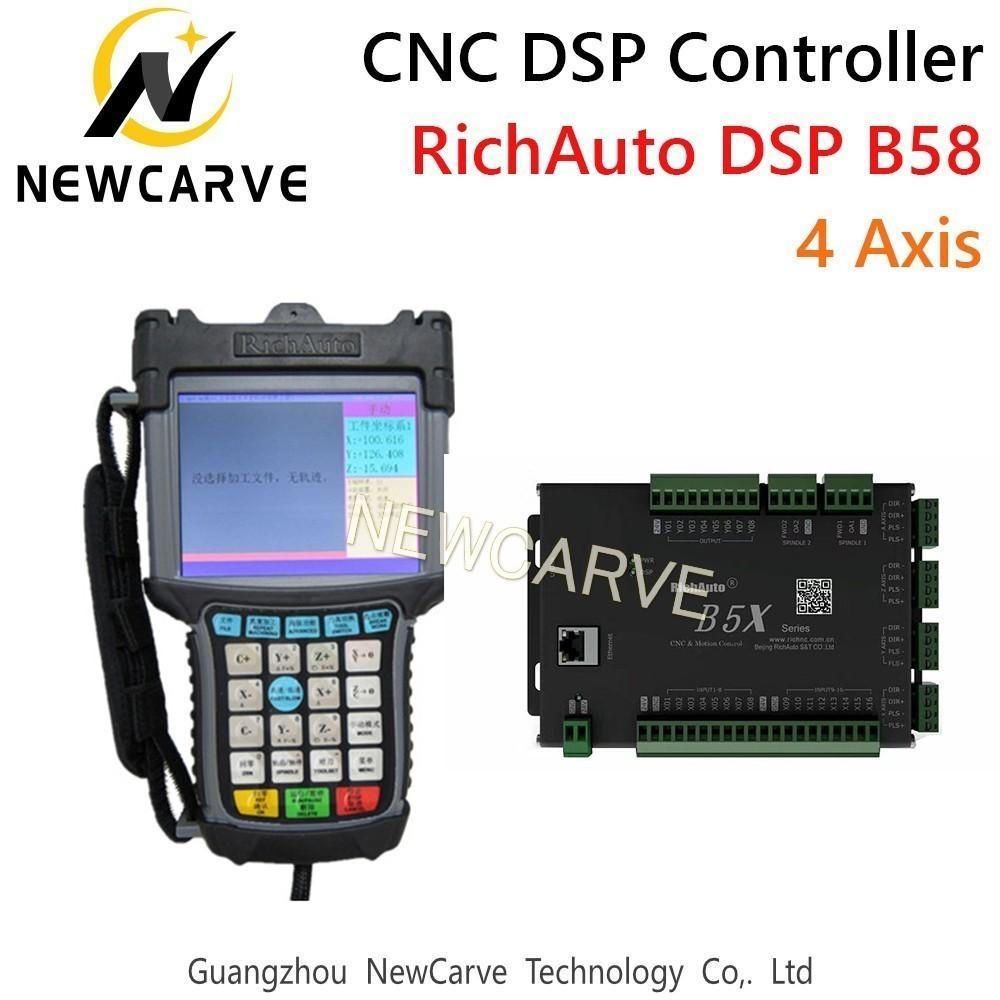 Richauto DSP B58 controlador CNC B58s B58e Sistema de Control 4 Eje del USB Manual Para CNC Paso Servo máquina Newcarve