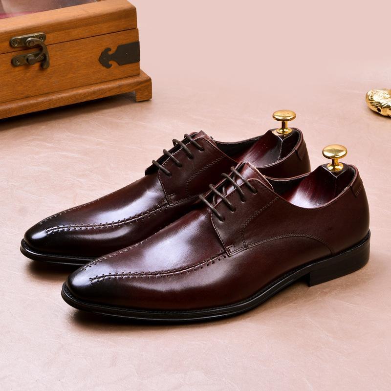 Magic2019 Vestido correcto Hombre Zapatos de cuero Calzado cuadrado individual para hombre Inglaterra Hombre Zapatos de cuero Cuero genuino Manual Hombre
