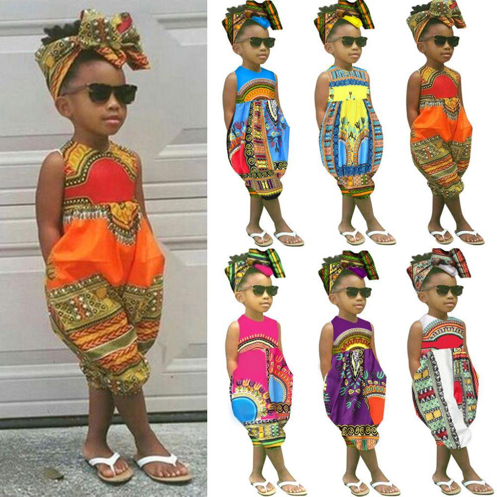 2019 Pagliaccetto africano senza maniche Toddler Toddler Neonato Abiti per bambina Abiti Stampa Pagliaccetto Tuta Vestiti per bambina Estate