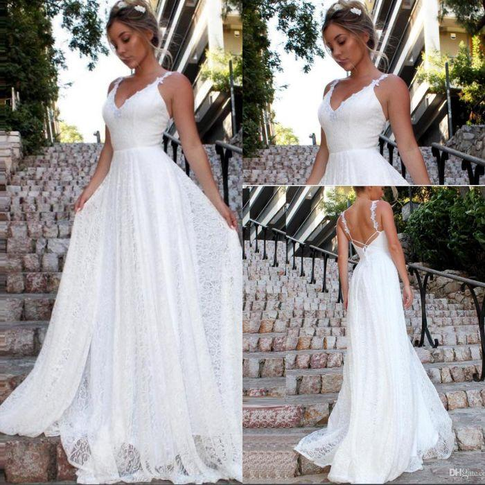2020 Nuovo Pizzo Beach Wedding spiaggia una linea di abiti da sposa di maternità incinta Boho nuziale degli Backless spalline