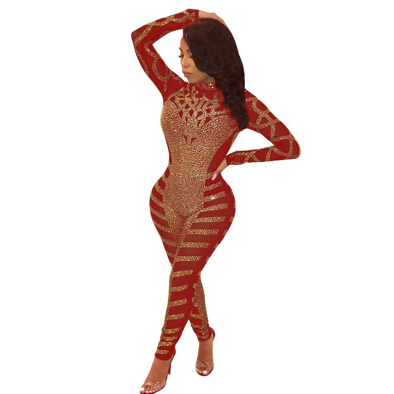 Los diamantes de la chispa Adogirl asimétricas de malla transparente Mono Medio Cuello partido del club de manga larga Mujer Sexy Body Noche Romper