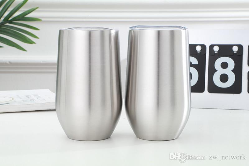 Kapak paslanmaz çelik ayaksız şarap ile 16 oz şarap bardak sıcak satmak yumurta bardak çift cidarlı vakum yalıtımlı kupa gözlük