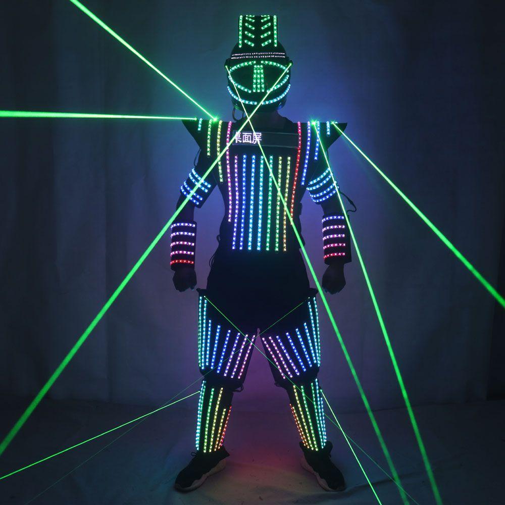 Full Color LED Robot vestito Laser Verde Costume Giacca laser modello mostra vestito vestire DJ Bar prestazioni