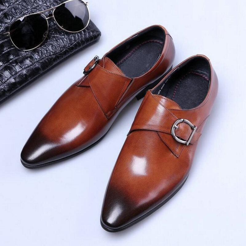 Classic Formal Shoes Casual Dress Shoes Men's Double Monk Strap buckle Leather Oxford pointed Toe oxford big size LH-82