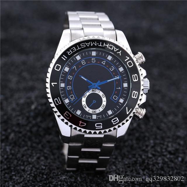Reloj Hombre 45 ملم وجه فاخر مصمم رجالي ساعات ماركة أزياء جديدة اللباس التلقائي ووتش الرجال الطلب الكبير أسود ساعة اليد كوارتز ساعة