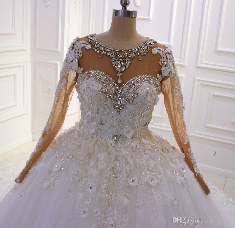 Real Pictures Luxury Ball Gown Wedding Dress Court Train Lace Appliques Bridal Gown With Crysyals Plus Size Vestido De Noiva Custom Made