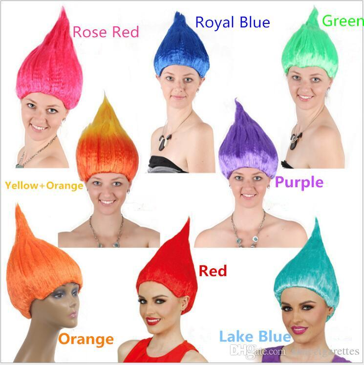 100pcs DHL Trolls Wig for Kids Adults Pink Green Purple Orange Costume Cosplay Party Supplies Party Cosplay Wig 8 Colors In Stoc