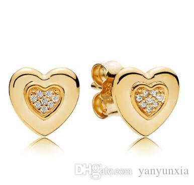 Originale 925 Silver Gold Orecchini Logo Cuore Con L'orecchino di cristallo della vite prigioniera per i monili delle donne di modo del regalo di nozze