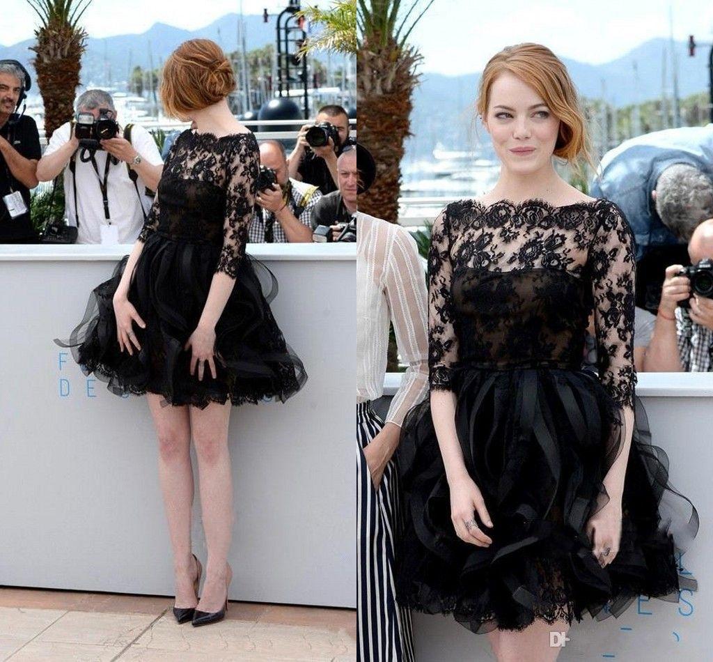 2019 블랙 짧은 댄스 파티 드레스 Bateau Half Sleeve Illusion 바디 스 미니 레이스 Draped Homecoming 칵테일 파티 드레스 Special Occasion Dress