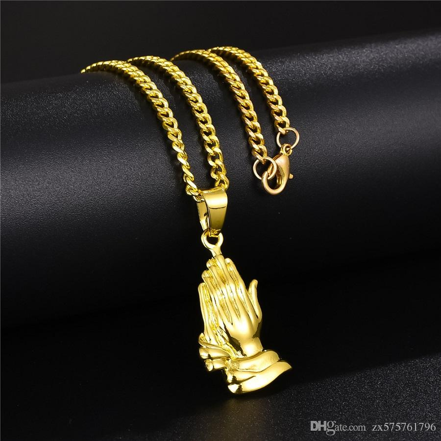 Necklace for Men Pure Gold Color Cross Charm Pendant Khands For Women Men 24k Yellow Gold Filled Khands Wedding Wedding Jewelry