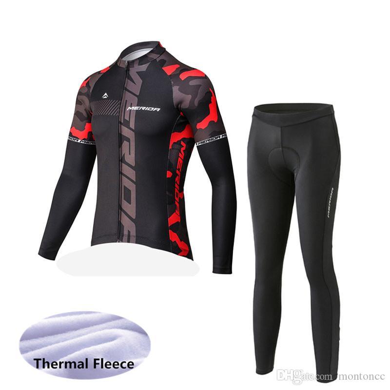 Merida Team Cycling Winter Thermal Fleece Jersey (Bib) Pantaloni Set Abbigliamento Abbigliamento Traspibile morbido Abbigliamento per ciclo Skin-friendly Può essere mescolato Z40783
