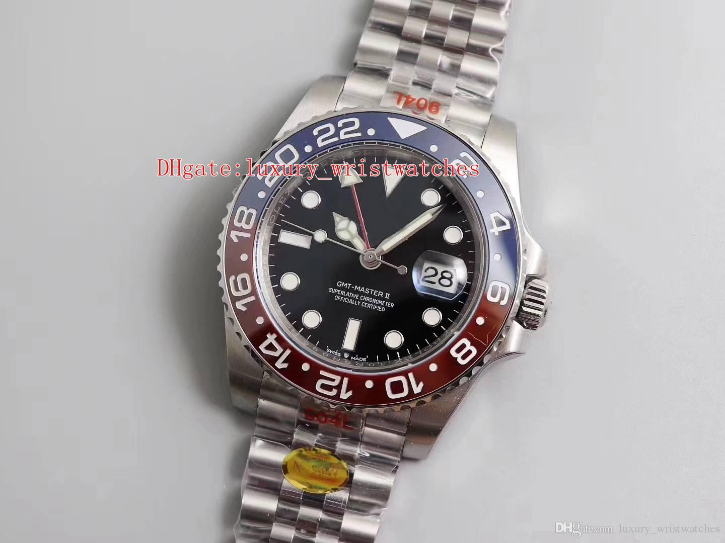 N مصنع 904l Steel water against Basel World 40mm GMT 126710 126710blro Pepsi Jubilee سوار ETA 3285 حركة أوتوماتيكية Mens ساعة