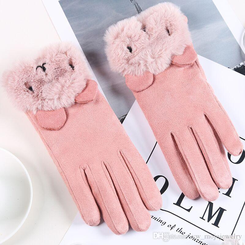 New Cute Design Popular Style Student Best Christmas Gift Winter Gloves High Quality 6 Colors Real Leather Gloves