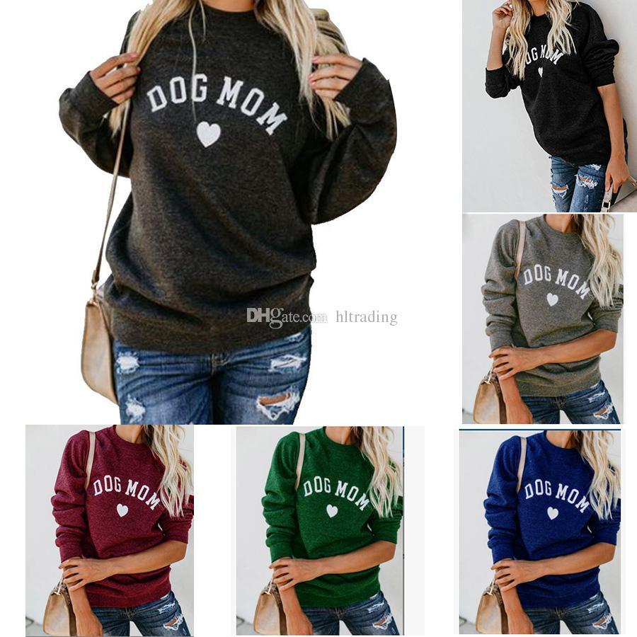 DOG MOM Letter Print T shirt 2019 spring autumn long Sleeve Sweatshirts Women Tee Fashion Female Tops maternity Clothing C6062