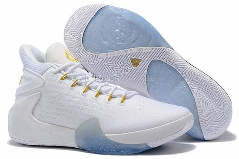 White Gold Blue Kids Basketball Shoes