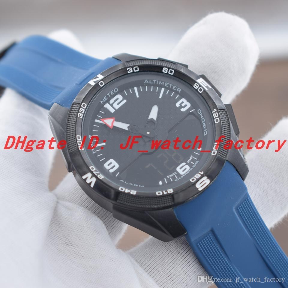 NOVA Mens Relógios de Quartzo eletrônico dupla zona de tempo de exibição PVD preto caso azul Pulseira de Borracha Deployment Clasp Homens Relógio de Pulso 1853