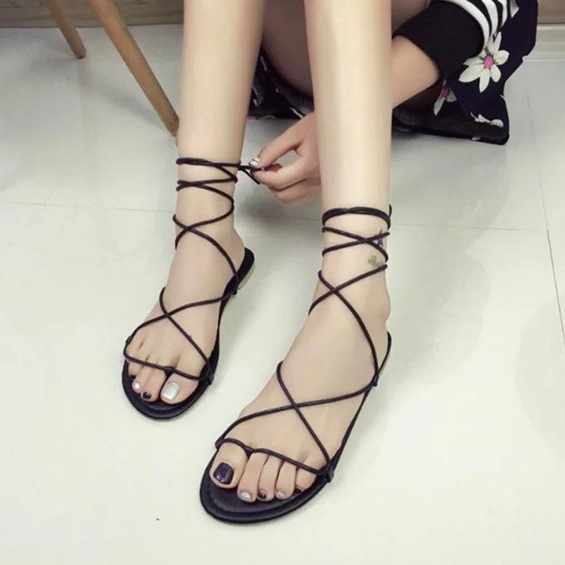 Sandálias Verão Mulheres Gladiador Liso Salto Strappy Cross-Tied Ladies Casual Lace-Up Black Khaki Tamanho 35-39