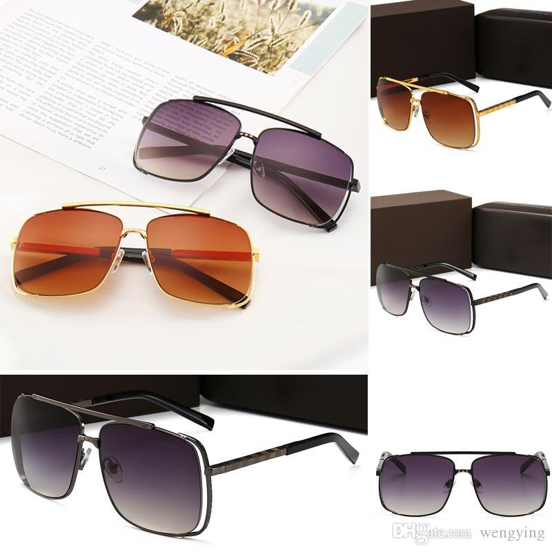 Nouvelle édition Top Edition Luxe Nous limitables Crystal Cadre Hommes Design K Gold rétro grille carrée Populaire lentille de coupe avec six lunettes de soleil détachables DVux