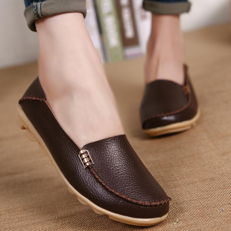 Düz ayakkabı Kadınlar Kadınlar Gerçek Deri loafer'lar Kadınlar Flats Bayan Ayakkabıları Mocassin Artı Boyutu 44 Sapato Feminino İçin Ayakkabı Slip On