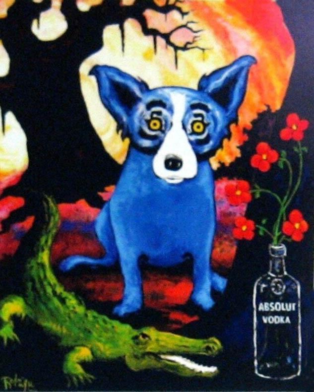 CÃO AZUL ABSOLUT VODKA por George Rodrigue Home Decor Artesanato / HD impressão pintura a óleo sobre tela Wall Art Canvas Pictures 200117