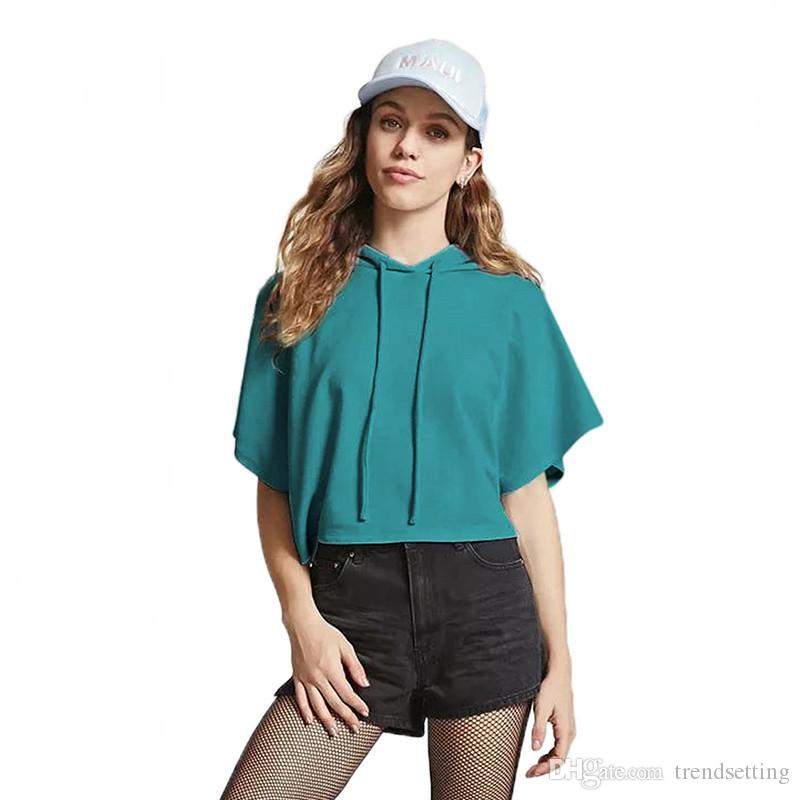 El más nuevo de alta calidad de algodón liso suéteres de manga corta mujeres Crop Top Hoodies Hot Girl Pullover sudadera gimnasio corriendo camisas