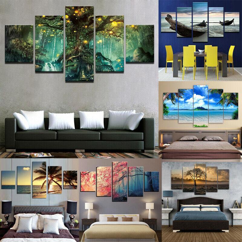 Doğa Resim Wall Art Ev Dekorasyonu Hayır Frame Boyama 5Pcs Modern Kanvas Baskı