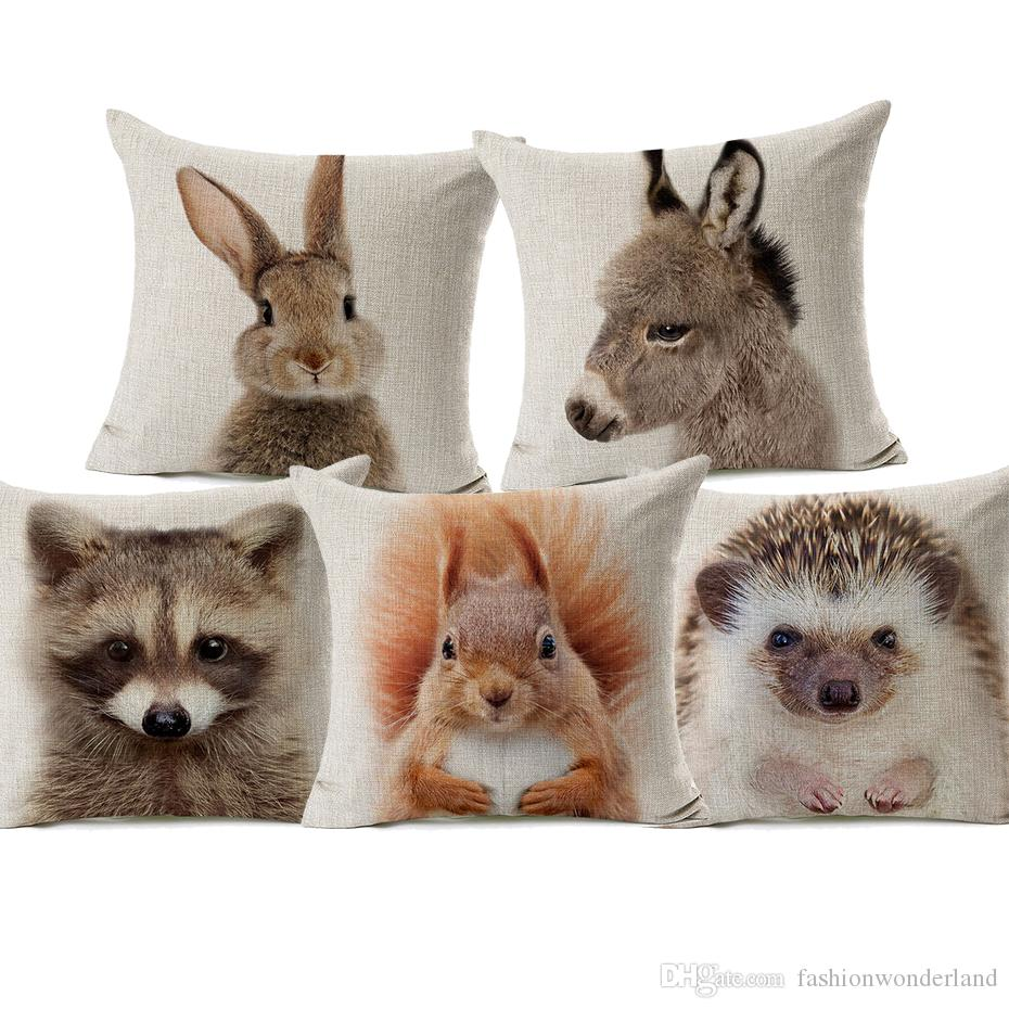 Bunny Fox Raccoon Koala Hedgehog Baby Animals Cushion Cover 45X45cm Linen Throw Pillow Cover Baby Room Sofa Decoration