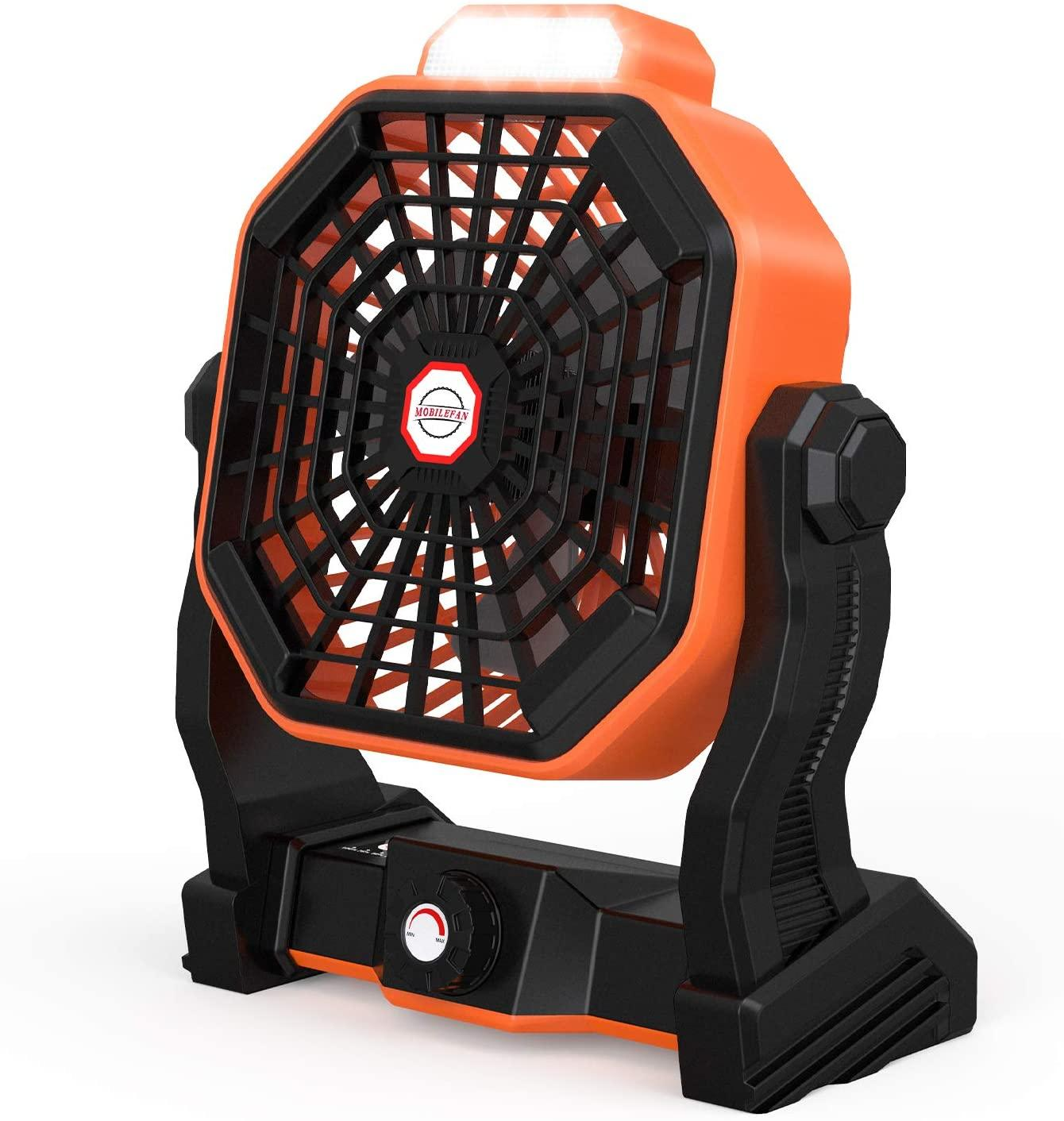 Rechargeable Indoor Outdoor Battery Operated Fan Adjustable Speed with LED Light Portable USB Box Fan with (Type-C) Charging Wire