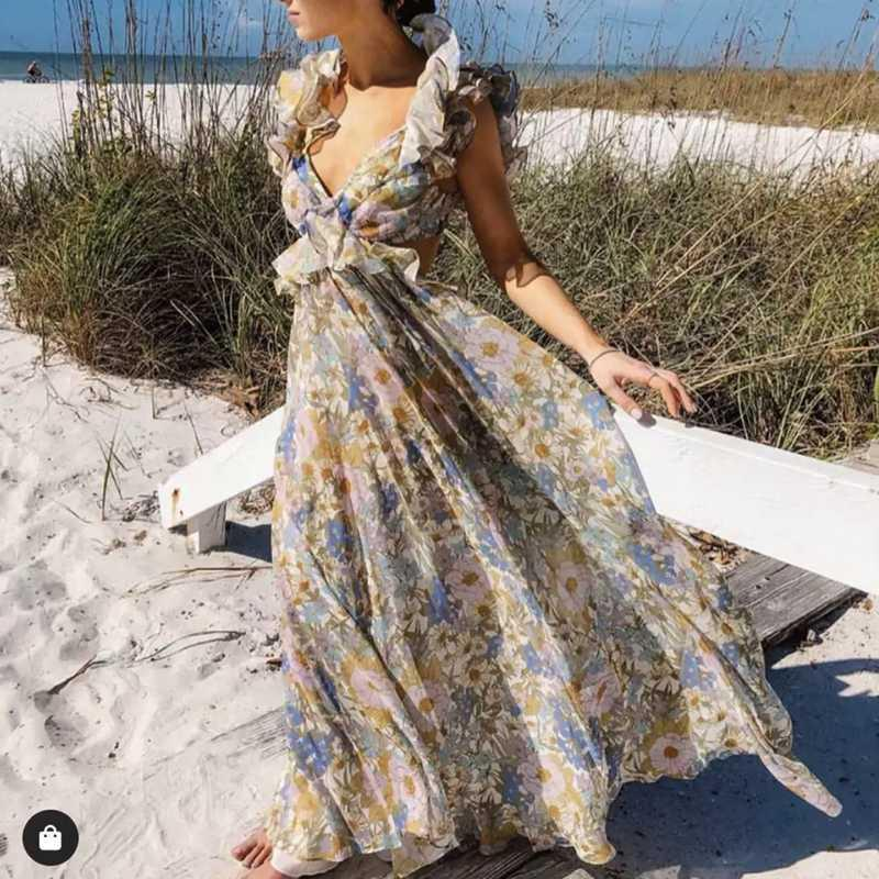 2020SS holiday ruffled V-neck temperament floral print long dress beach