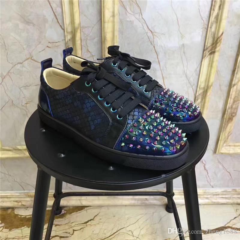 Scarpe originali Spikes + a colori con strass scarpe da tennis per donna, uomo casuale inferiore rossa Junior dal design di lusso Rosso Sole Walking con la scatola