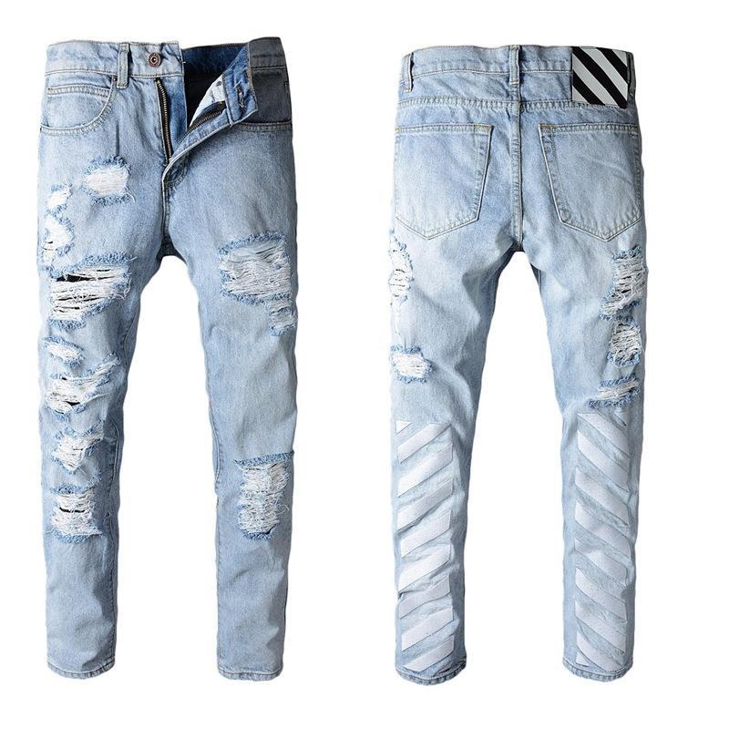 Modische Designer helle Jeans beggar Cowboy Stretch dünner dünner Rock Hip-Hop einfache Männer gerade Denim verschlissen