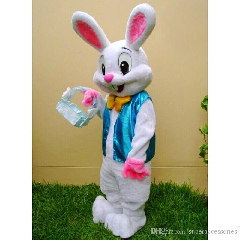 2018 High quality hot PROFESSIONAL EASTER BUNNY MASCOT COSTUME Bugs Rabbit Hare Adult Fancy Dress Cartoon Suit
