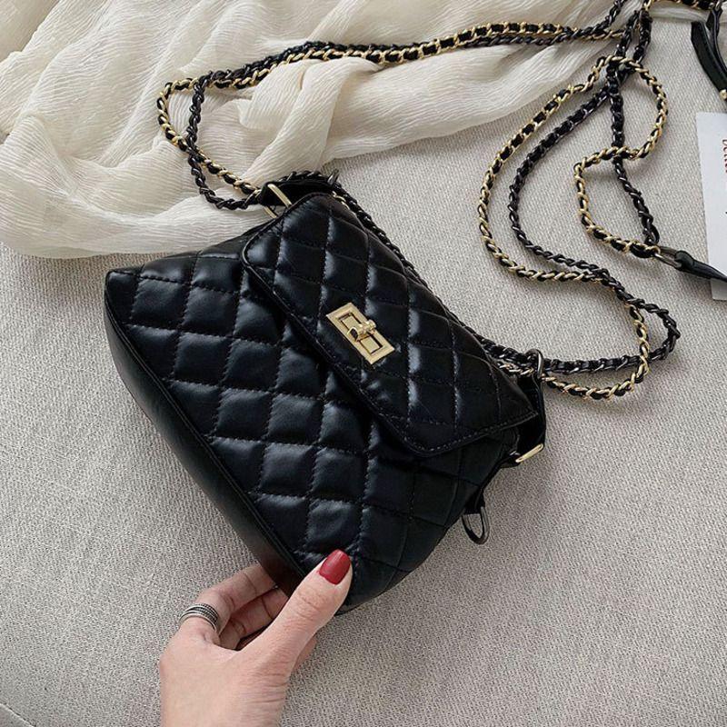 Weibliche Diamant-Gitter-Kette Crossbody Beutel für Frauen 2020 Handtasche Sac A Haupt Damen Hand Schulter Messenger Bag