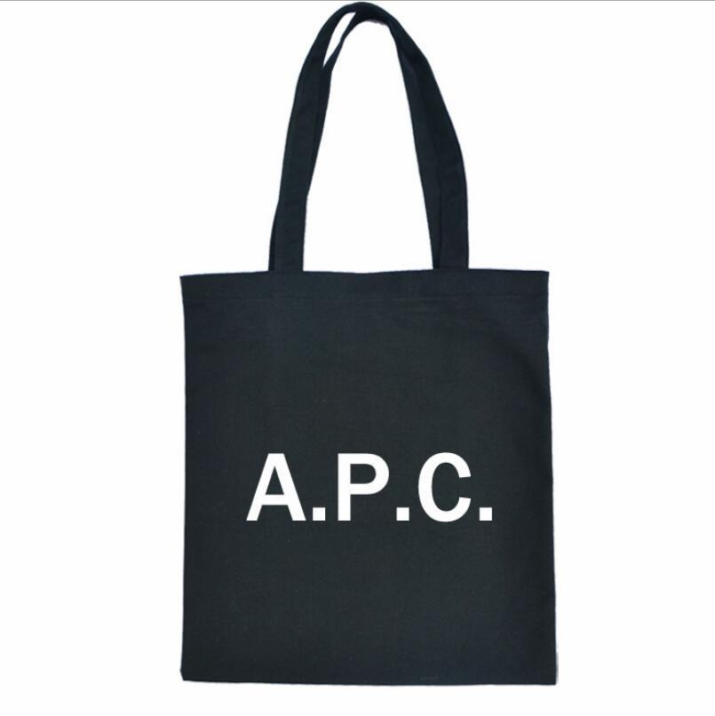 Nuevo bolso en blanco de las mujeres bolsa de letra APC de la bolsa de lona con cremallera gráfica de compras 2019 BUNDLE Handbagr lienzo Tote de bolsillo JLQRS