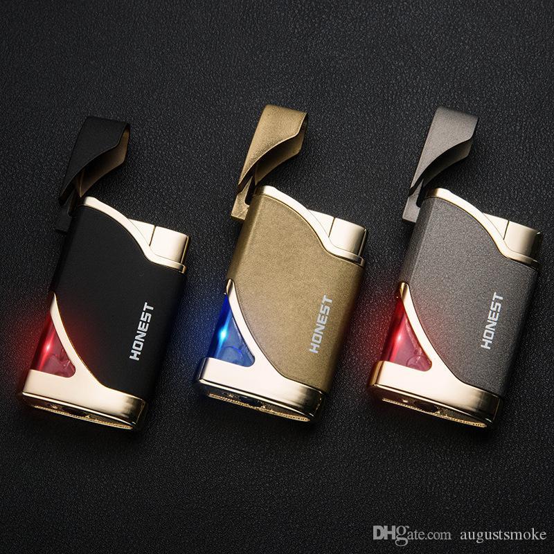 Personalidad creativa mini ultra-delgada de metal Encendedores a prueba de viento encendedor de gas de antorcha jet ligero con caja de regalo