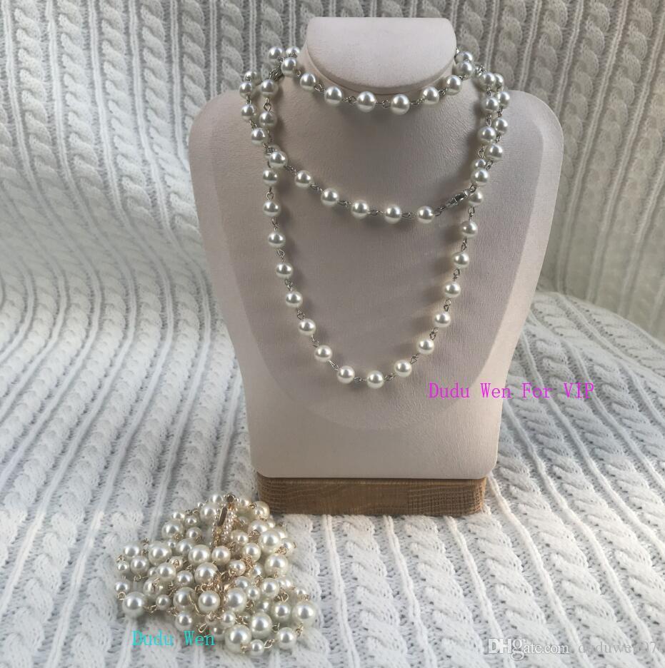 """100cm = 39,7"""" Länge Mode Perlenkette Schichten nacklace Geschenk-Box Mode Symbol Luxus C Perle Weihnachtsgeschenk, Parteigeschenk Pullover"""