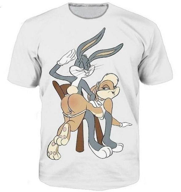 البق الأرنب الكرتون لوني تونز الأحدث T قميص الرجال النساء للجنسين مضحك 3D الطباعة الصيف كم قصير الرقبة يا Crewneck A228 بلايز عارضة