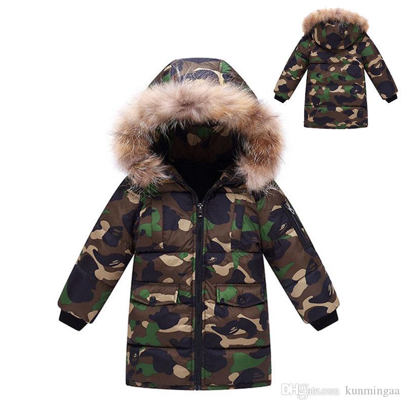 Invierno cálido cuello de piel camuflaje niños niños niñas chaqueta niños prendas de vestir exteriores a prueba de viento bebé niños niñas abrigos