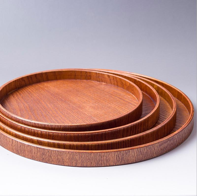 Black 30cm Vintage Round Wooden Plate Breakfast Food Snack Serving Tray Dish