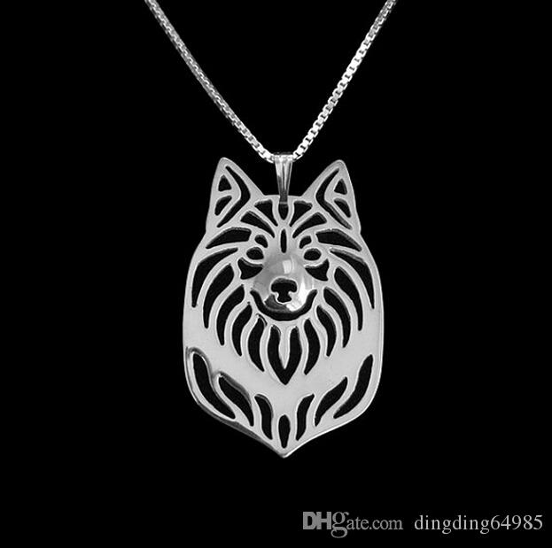 sell wholesale Icelandic Sheepdog Necklace 3D Cut Out Puppy Dog Lover Pendant Memorial Necklaces Pendants Christmas Gifts