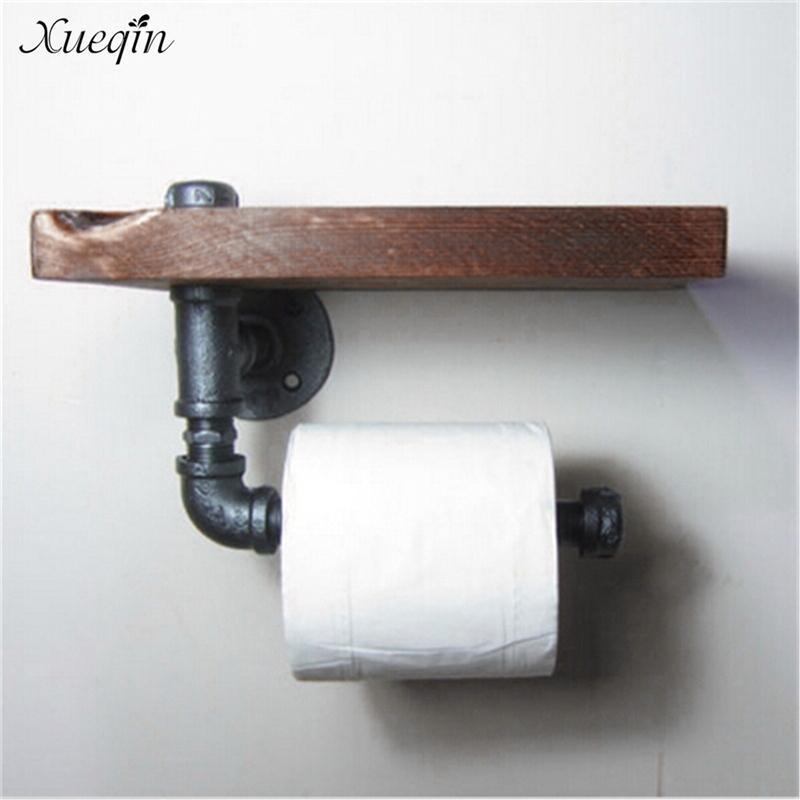 Retro ferro di alta qualità Xueqin spedizione gratuita supporto di carta igienica Bagno Hotel rotolo di carta velina Hanging rack di legno Mensola T200107