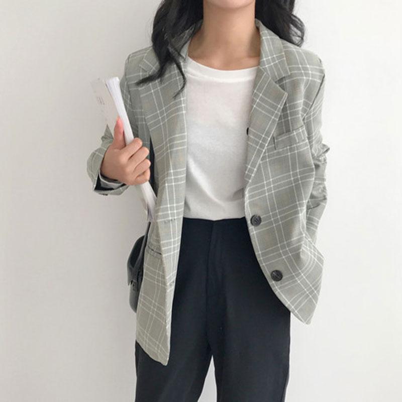 Plaid Suit Retro nicchia 2019 nuove donne Autunno versione coreana del lungo tratto manica lunga di colore di contrasto Controllare casacca