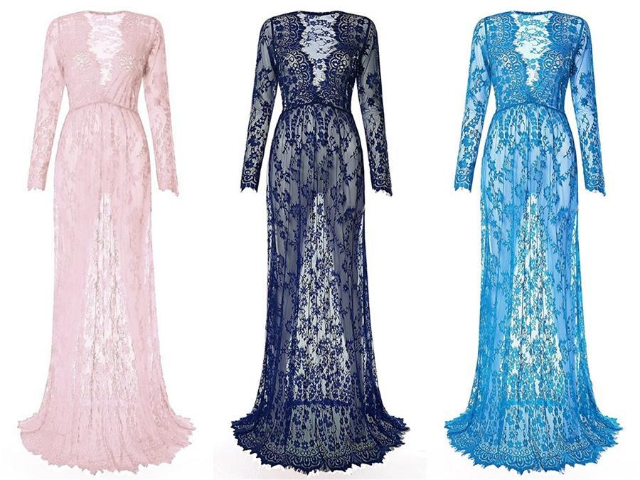 Lace Two Pieces 2020 Verão casamento de praia Vestidos profunda V-Neck mangas compridas Boho nupcial Vestidos de casamento Vestidos # 868