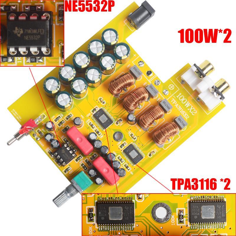 Freeshipping Breeze Ses BA100 MİNİ HiFi D sınıfı Ses Dijital Güç Amplifikatör tpa3116d2 * 2 TPA3116 Gelişmiş 2 * 100W Mini DC24V 4A