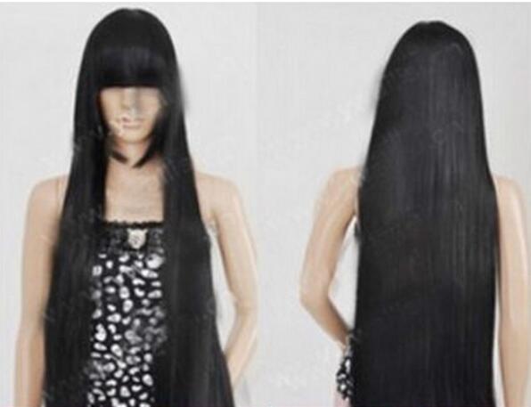 LIVRAISON GRATUITE + + + Nouvelle perruque Cosplay Chobits Chii Noire Perruque Droite 100cm